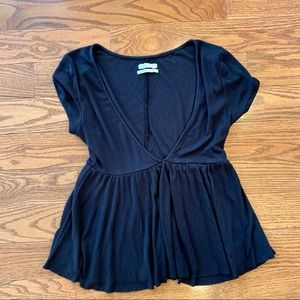 Urban Outfitters Low Cut V Neck Flowy Peplum Top M